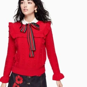 Kate Spade New York Red Ruffle Yoke Sweater